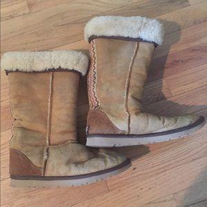 Vintage ugg leather boots faux fur